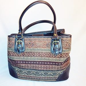 RELIC Tapestry Woven Fabric & brown leather bag